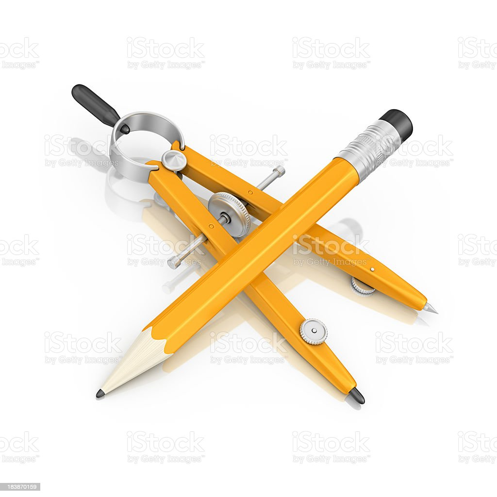 pencil and drawing compass stock photo