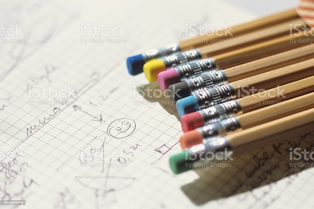 Pencil and drawings stock photo