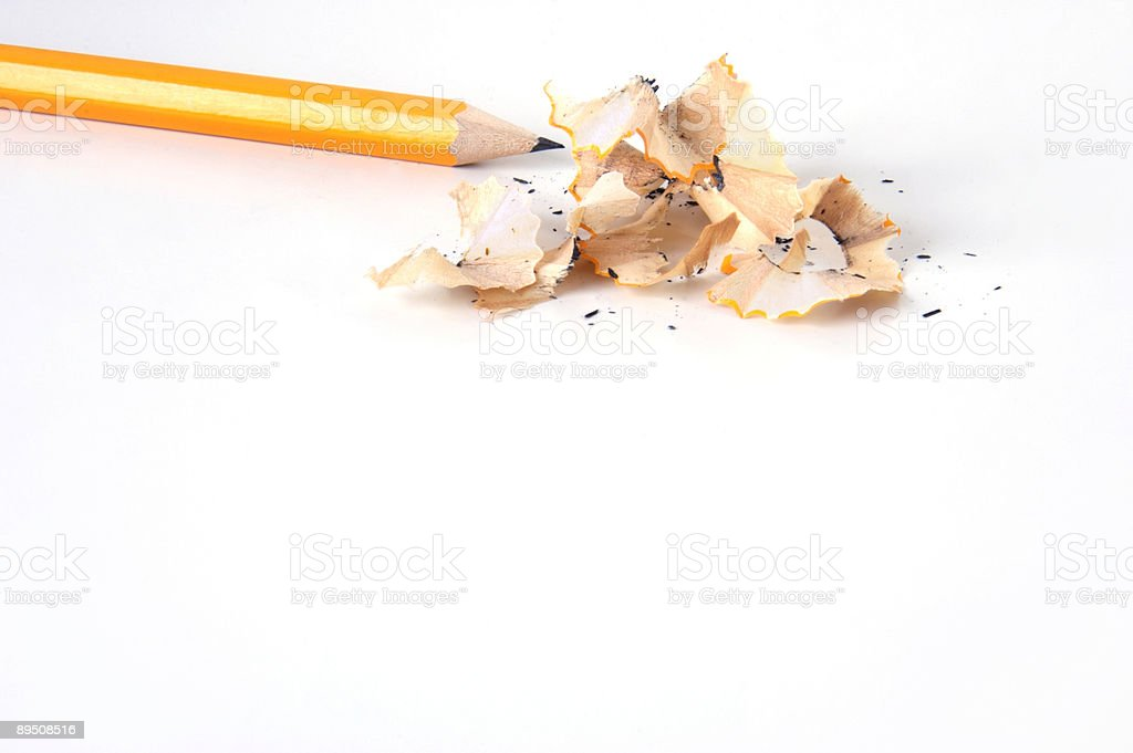 Pencil and pencils shavings royalty-free stock photo