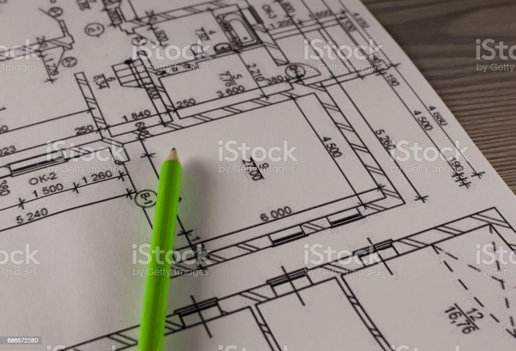 Pencil and plan of house photo libre de droits
