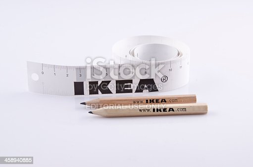 Shenzhen, China - May 20, 2012: Wooden pencils and paper ruler with IKEA logo provided by the Sweden company to visitors coming to the stores for shopping.