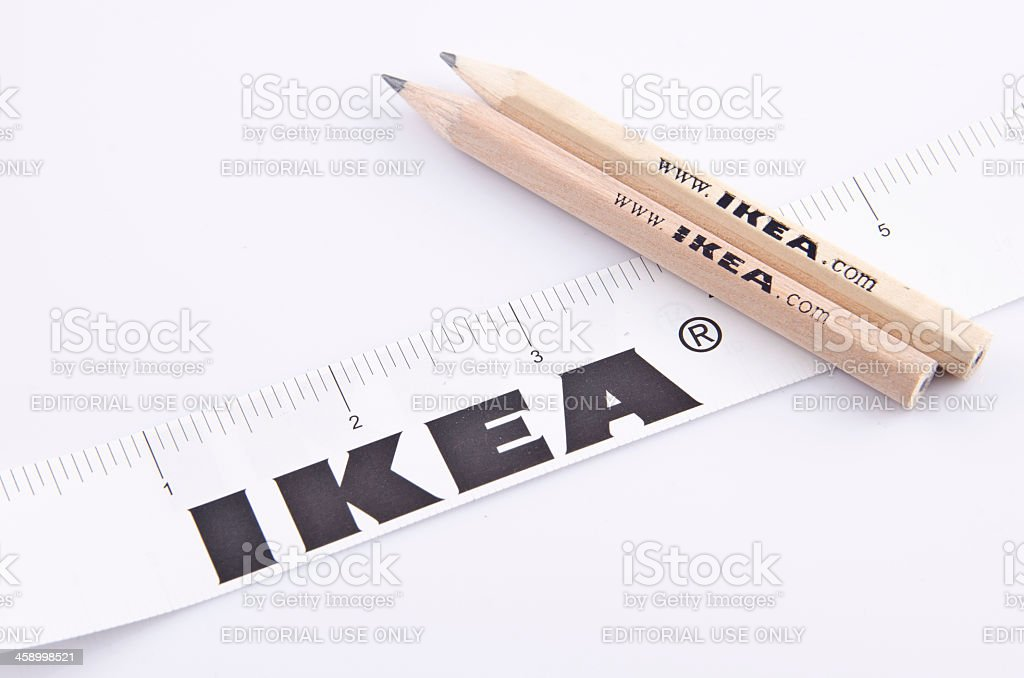 Pencil and Ruler of IKEA stock photo