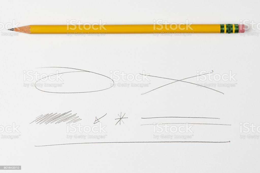 Pencil and scribbles and lines and Doodles Isolated on White Background with Real Shadow stock photo