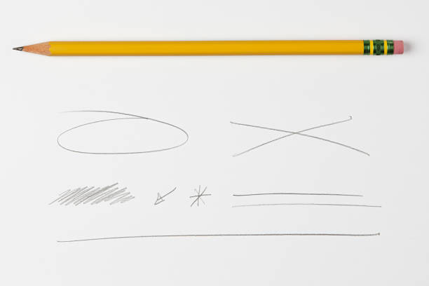 pencil and scribbles and lines and doodles isolated on white background with real shadow - pencil stock photos and pictures