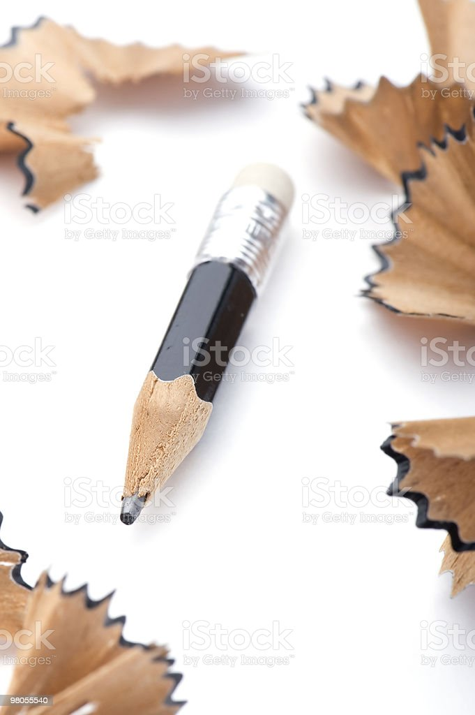 pencil and shavings on white royalty-free stock photo