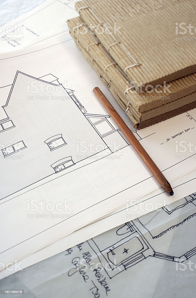 pencil and side elevation royalty-free stock photo