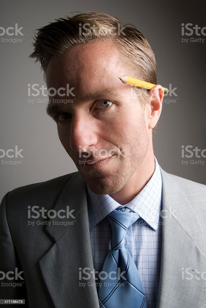 Pencil Behind Ear Portrait stock photo