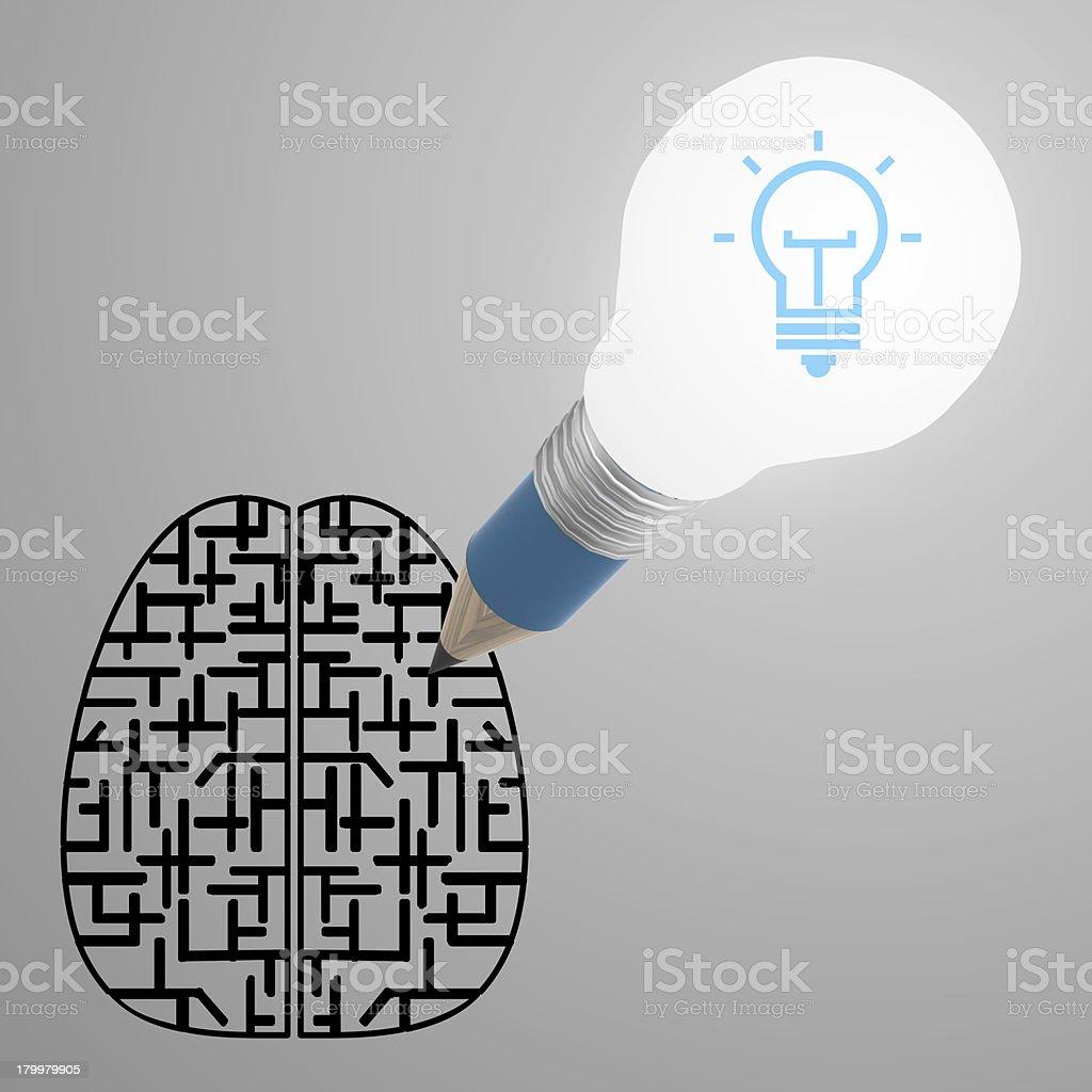 pencil creative light bulb head drawing the best idea diagram royalty-free stock photo