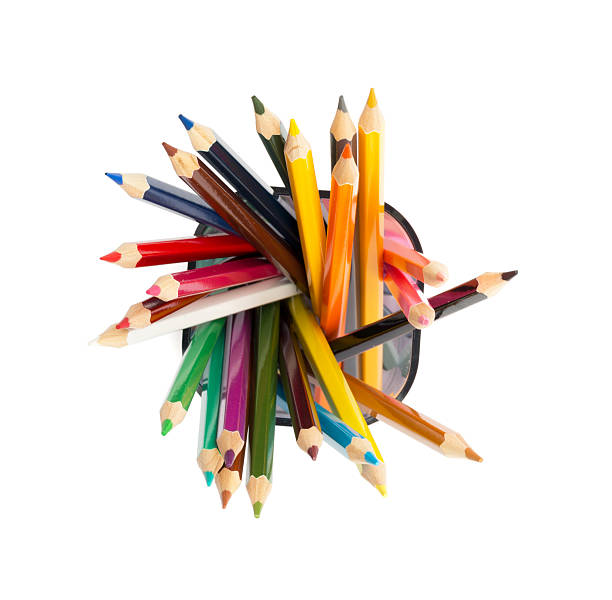 pencil cup with crayons on white - coloured pencil stock photos and pictures