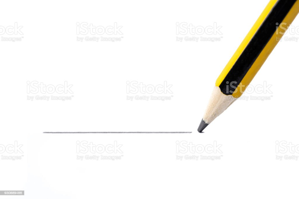 Pencil drawing a straight line, isolated on white background stock photo