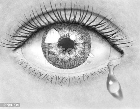 Beautiful pencil drawing eye with tear