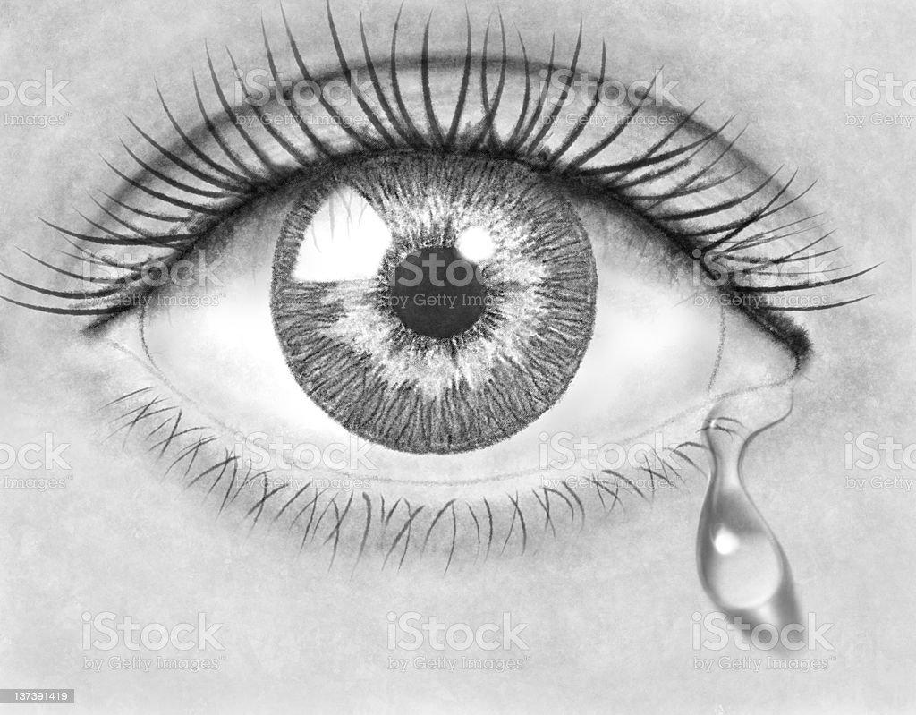 Pencil drawing eye stock photo