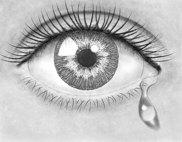 olhos de desenho de lápis - imagens de lagrimas - fotografias e filmes do acervo