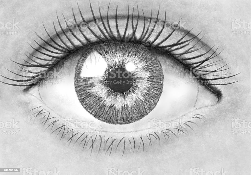 Pencil drawing eye stock photo