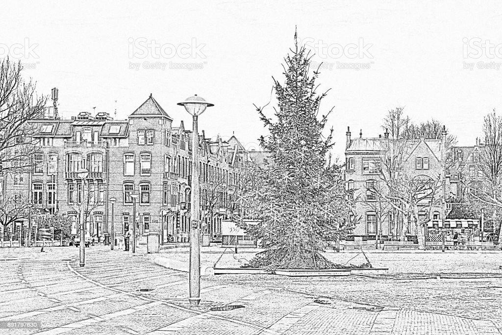 Bleistiftzeichnung Von Weihnachten Am Museumplein In Amsterdam ...