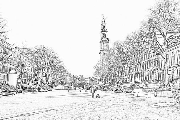 potlood tekening van de winter in amsterdam nederland met de westerkerk - westerkerk stockfoto's en -beelden