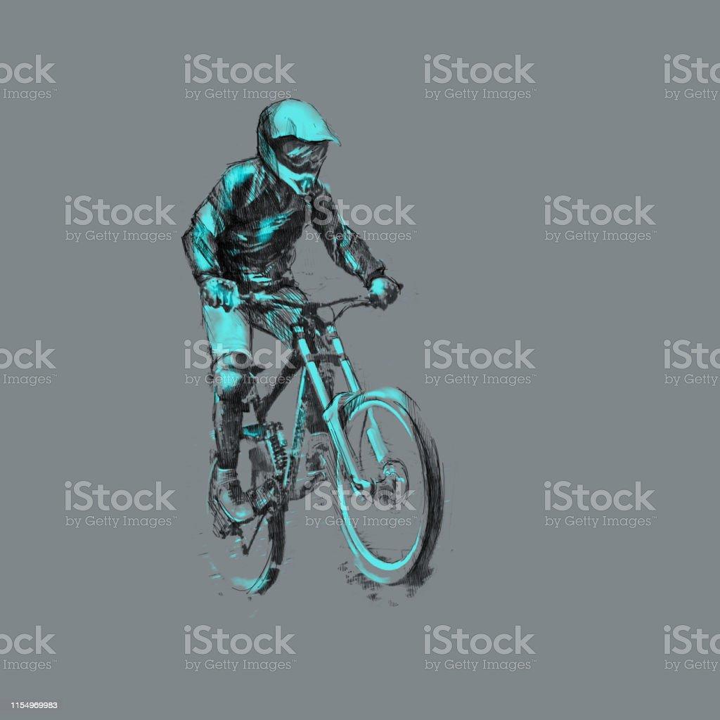 Dibujo A Lápiz Ilustración De Un Ciclista En Una Bicicleta
