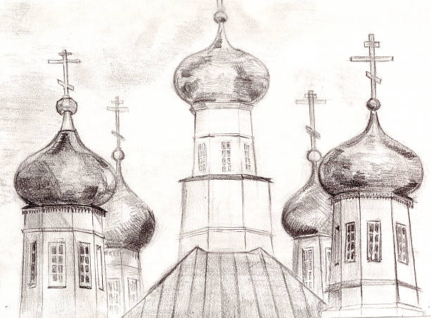 pencil drawing of a Russian church stock photo