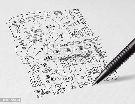 istock Pencil drawing office symbols and icons concept 1202255474