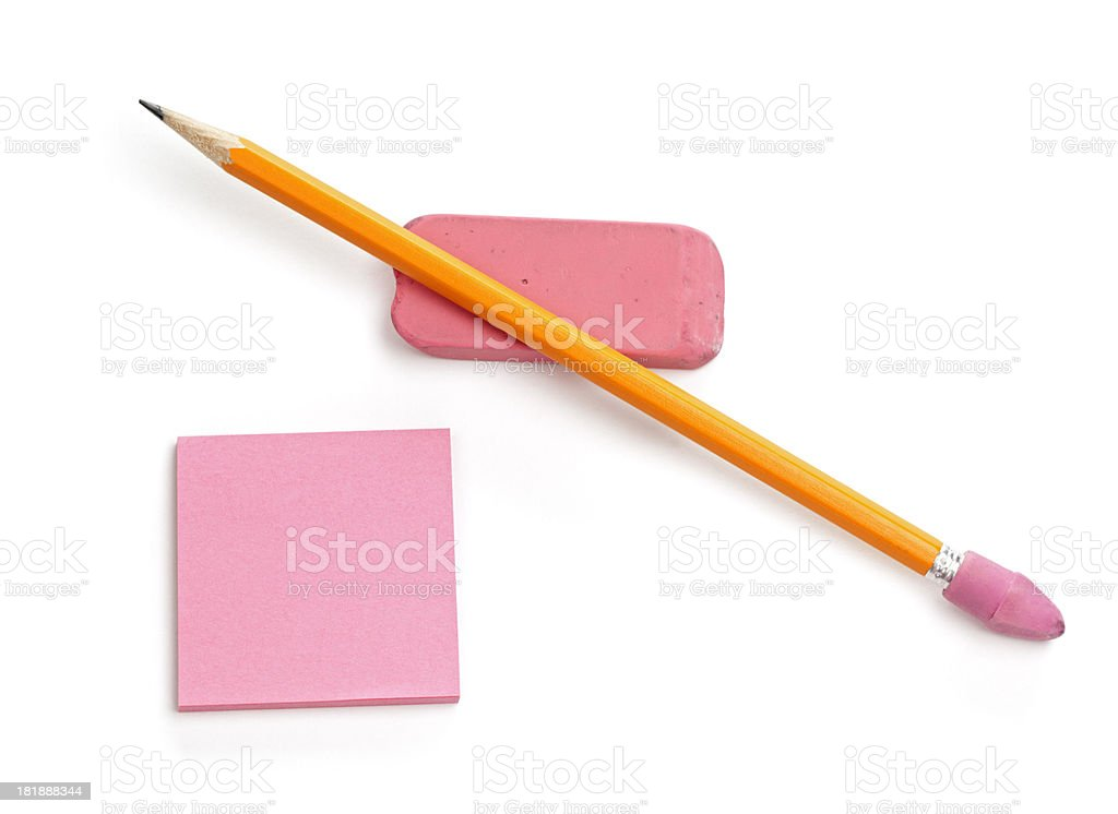 Pencil, Eraser, and Note pad royalty-free stock photo