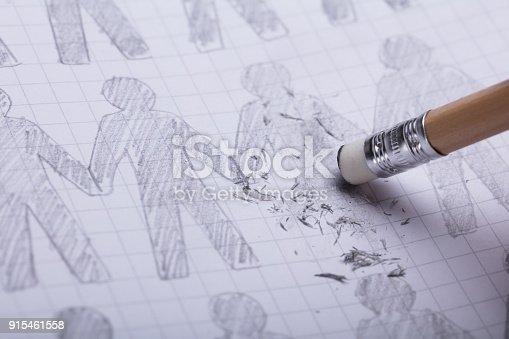 istock Pencil Eraser Erasing Drawn Figures 915461558