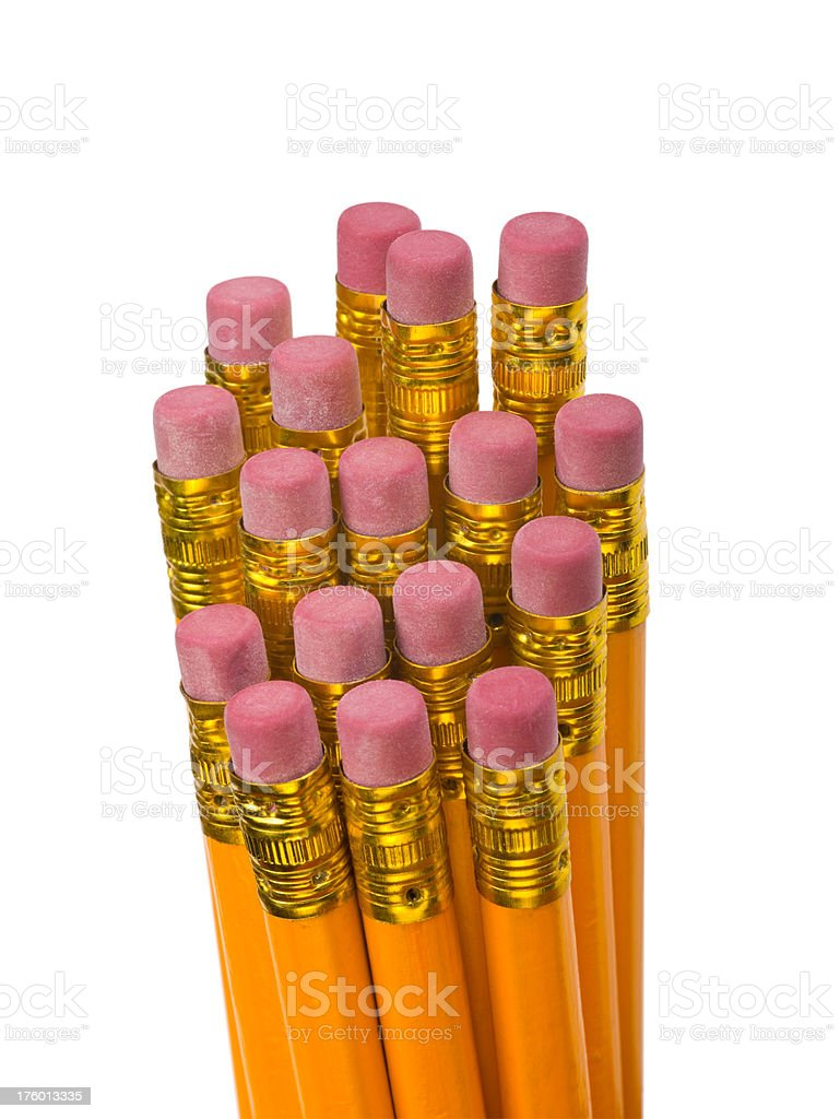 Close up of number 2 pencil erasers on pure white