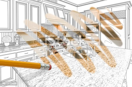 894638730 istock photo Pencil Erasing Drawing To Reveal Finished Custom Kitchen Design Photograph 991375456