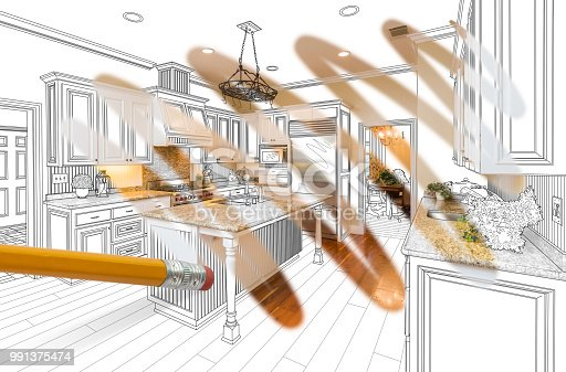 894638730 istock photo Pencil Erasing Drawing To Reveal Finished Custom Kitchen Design Photograph 991375474