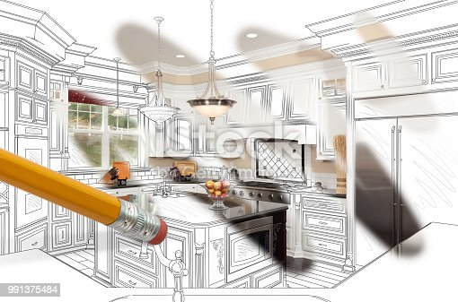 894638730 istock photo Pencil Erasing Drawing To Reveal Finished Custom Kitchen Design Photograph 991375484