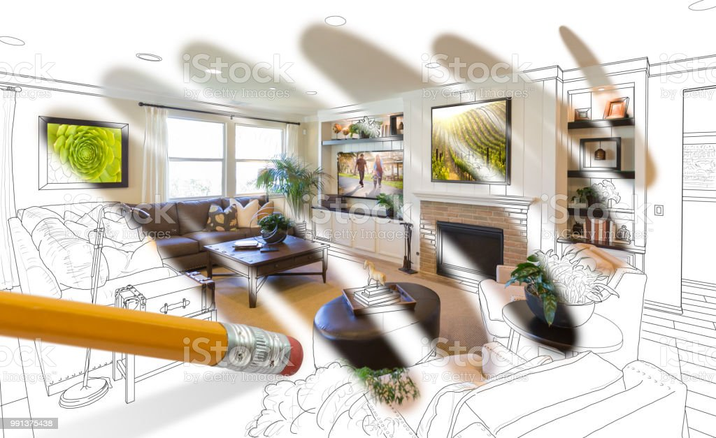 Pencil Erasing Drawing To Reveal Finished Custom Living Room Design Photograph Stock Photo Download Image Now Istock
