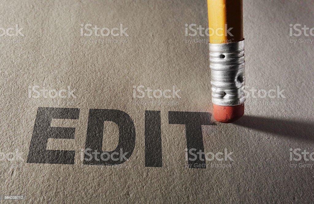 Pencil erasing Edit stock photo
