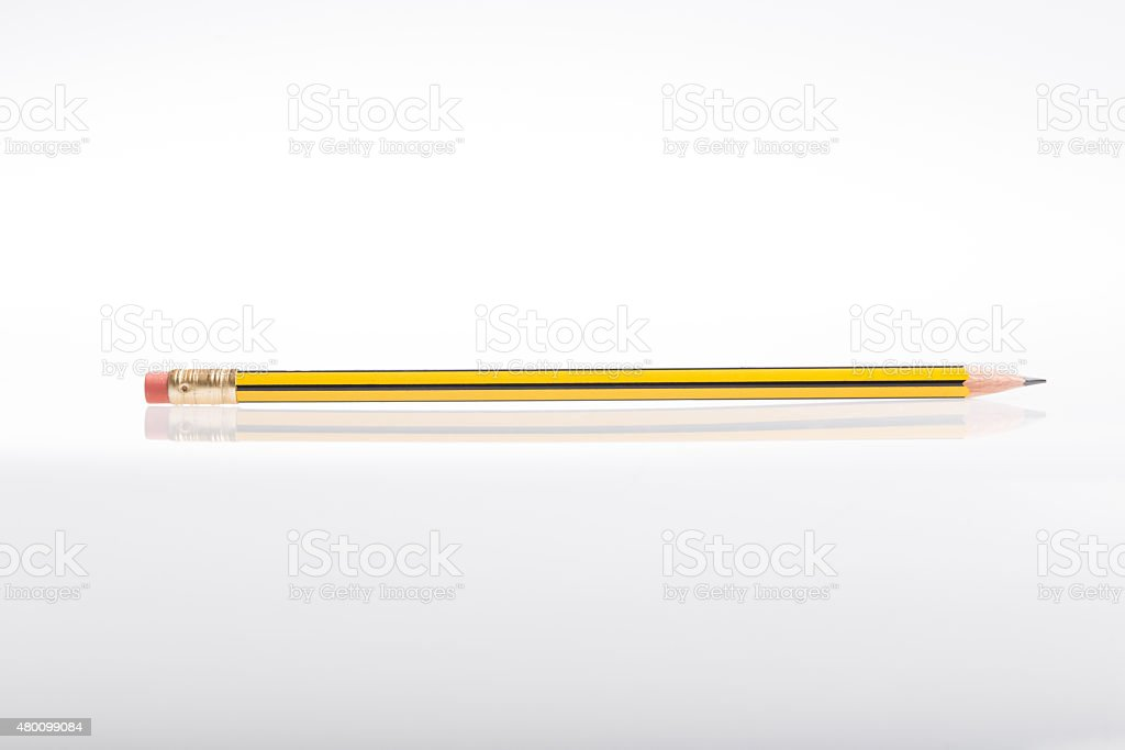 Pencil flattened in an isolated white background stock photo