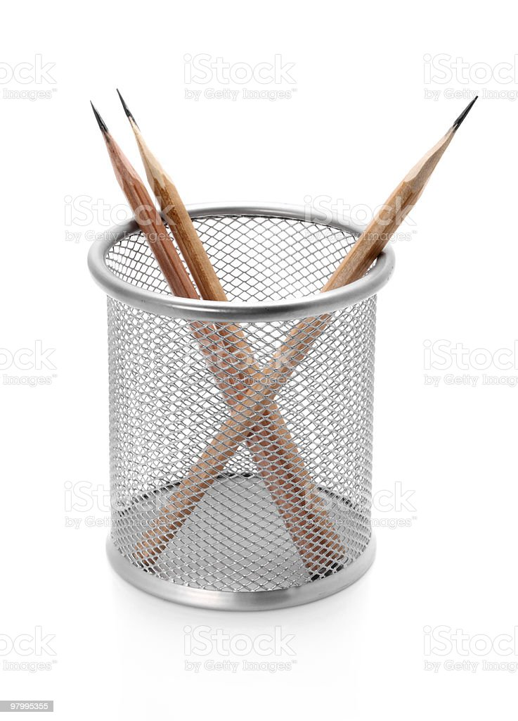Pencil holder with pencils on white royalty-free stock photo
