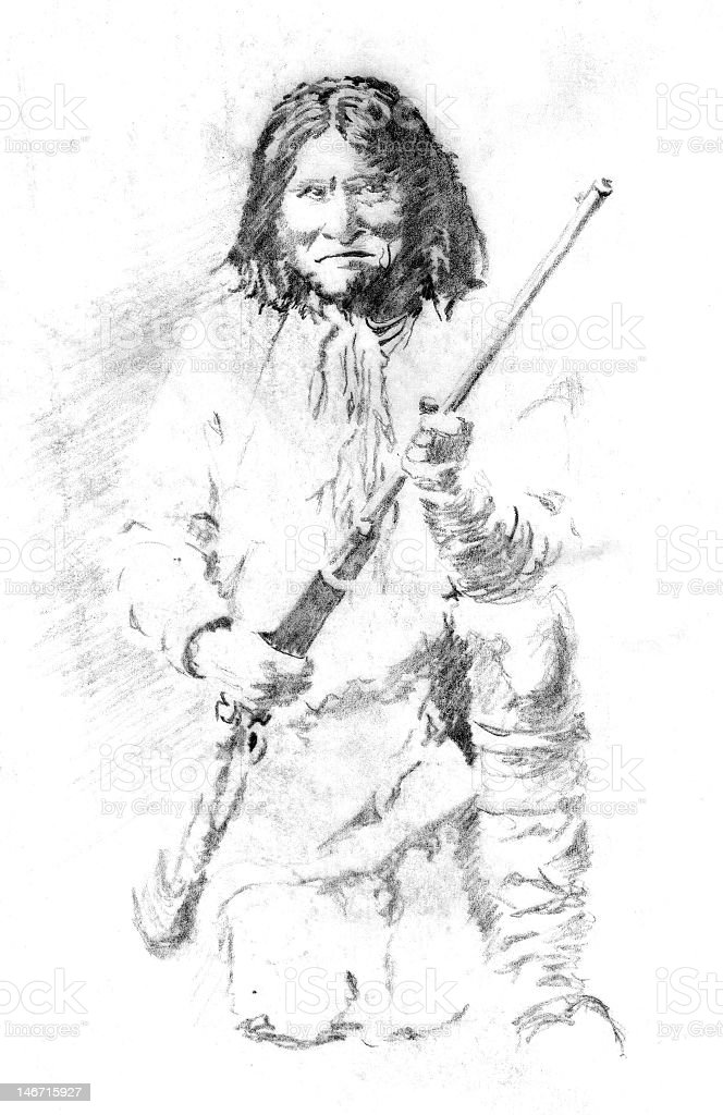 A pencil illustration of Geronimo stock photo