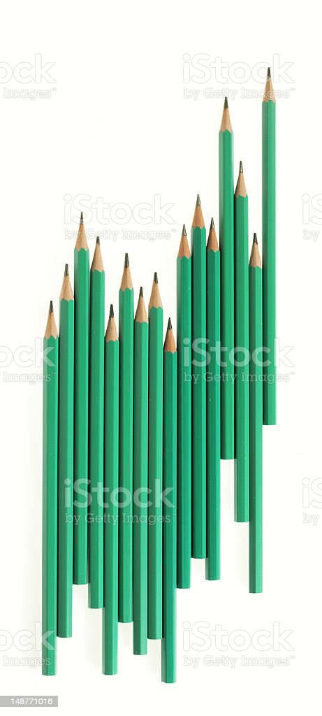 Pencil in a row stock photo