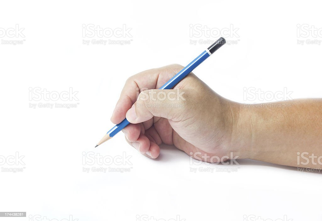 Pencil in man hand isolated on white background. royalty-free stock photo