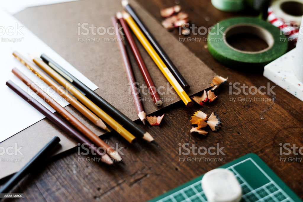 Pencil is on the table stock photo