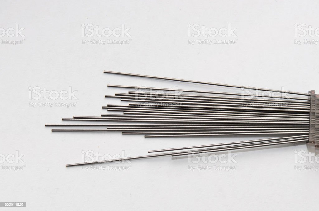 Pencil lead refills isolated white background stock photo