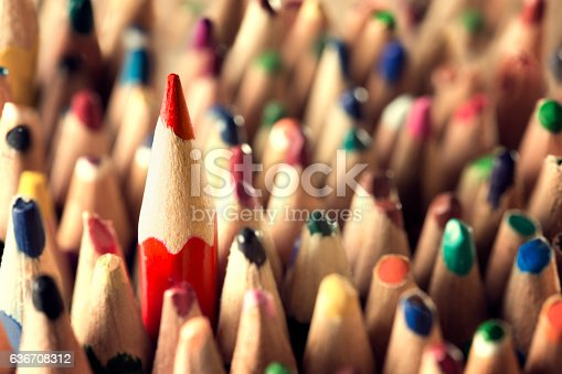 istock Pencil Leader Concept, Sharp in Used Pencils Crowd, New Idea 636708312