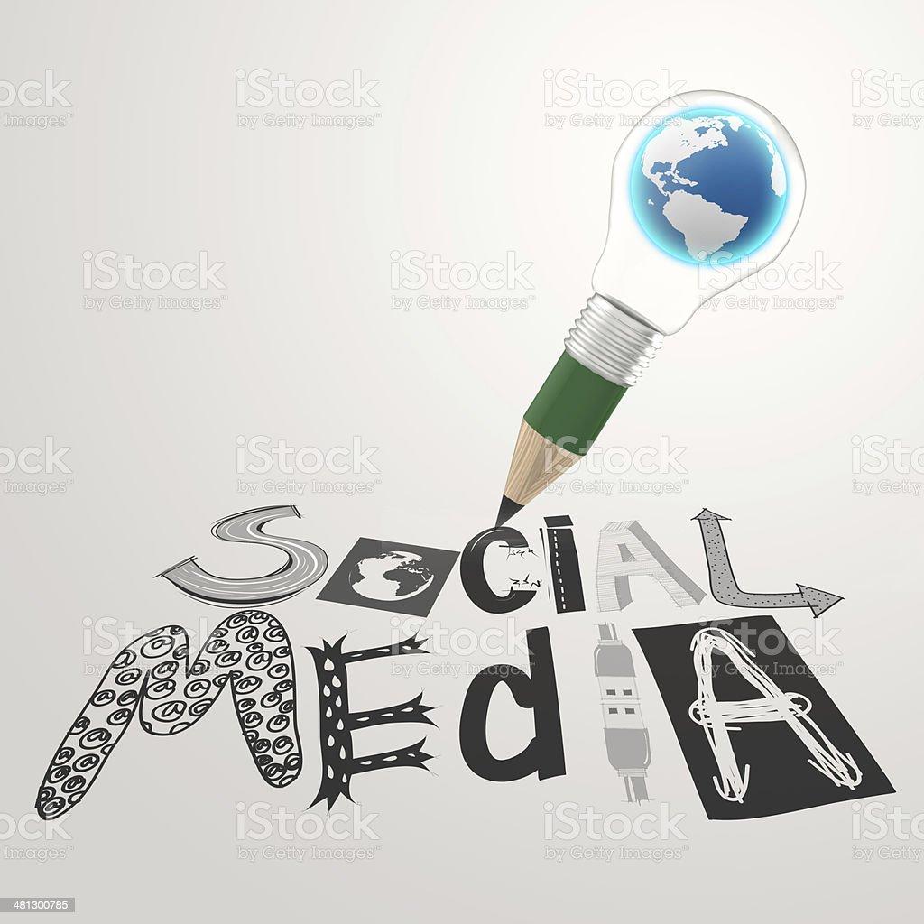 Bleistift Glühbirne 3dhand Gezeichnete Grafik Design Social