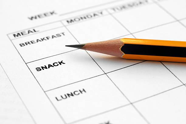 pasto di pianificazione - tipo di cibo foto e immagini stock