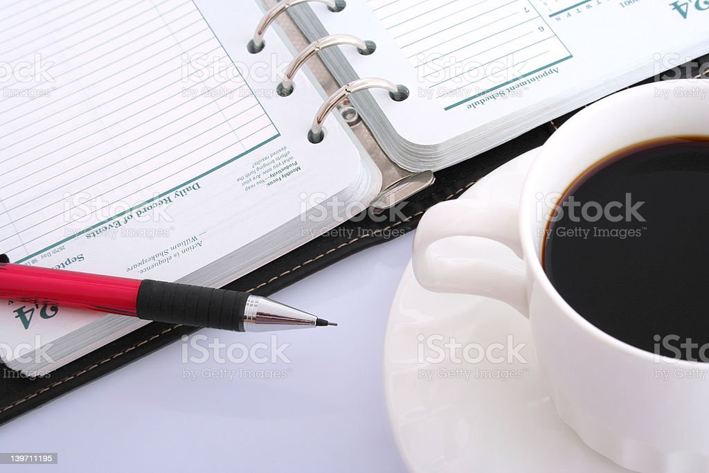 pencil, notebook and black coffee royalty-free stock photo