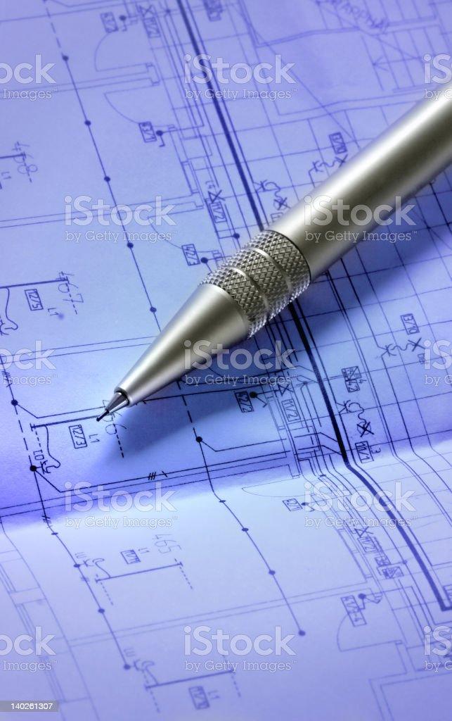 pencil on blueprint royalty-free stock photo