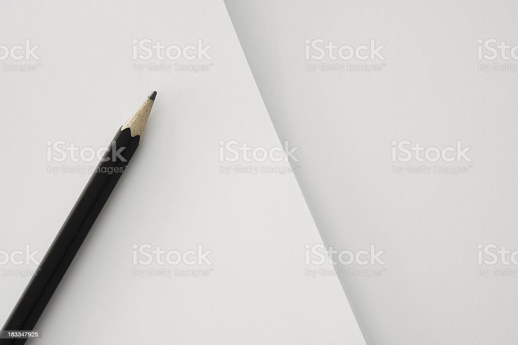 Pencil on sheet of paper royalty-free stock photo