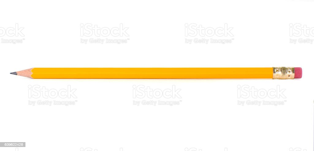 Pencil on white background stock photo
