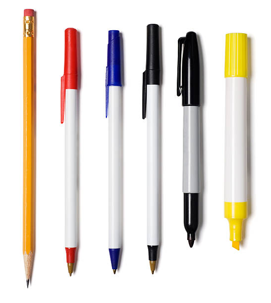 Pencil, Pens, Marker, Highlighter stock photo