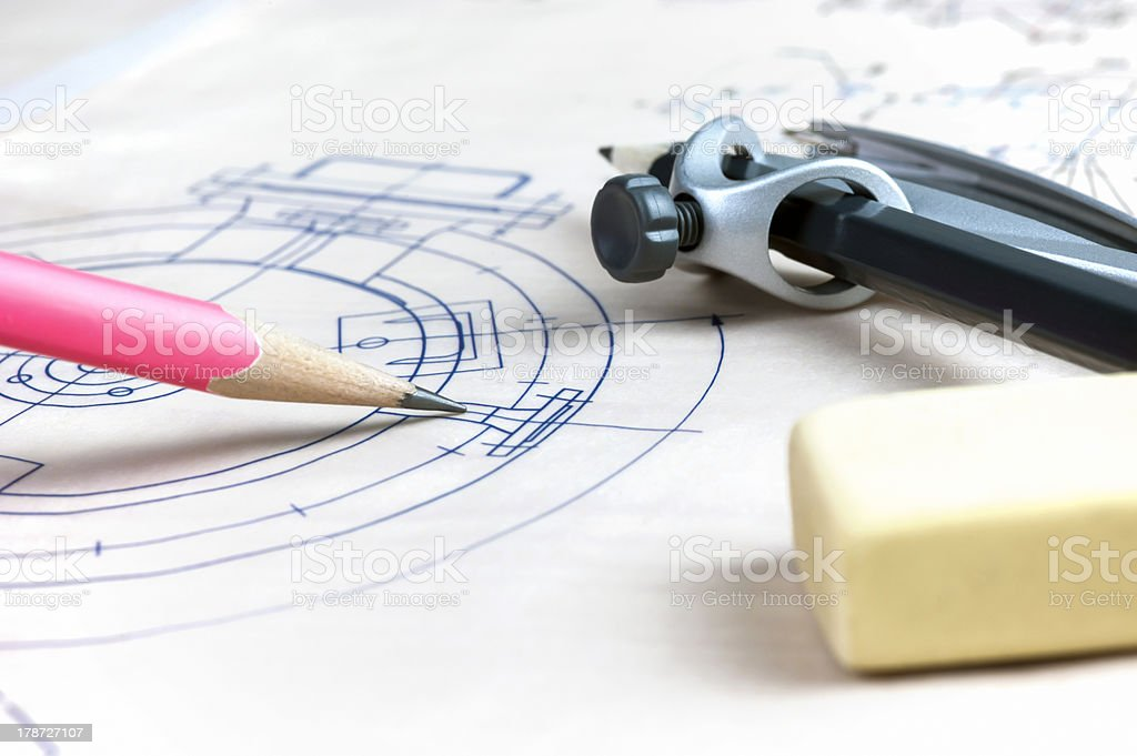 Pencil point to the blueprint royalty-free stock photo