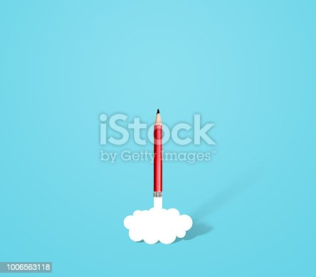 pencil rocket with smoke, idea and innovation