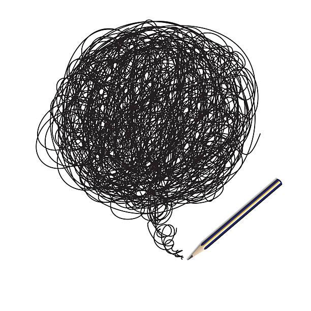 Pencil scribble random drawing stock photo