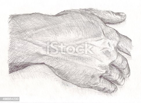 Pencil sketch showing close up detail of a masculine mans hand.